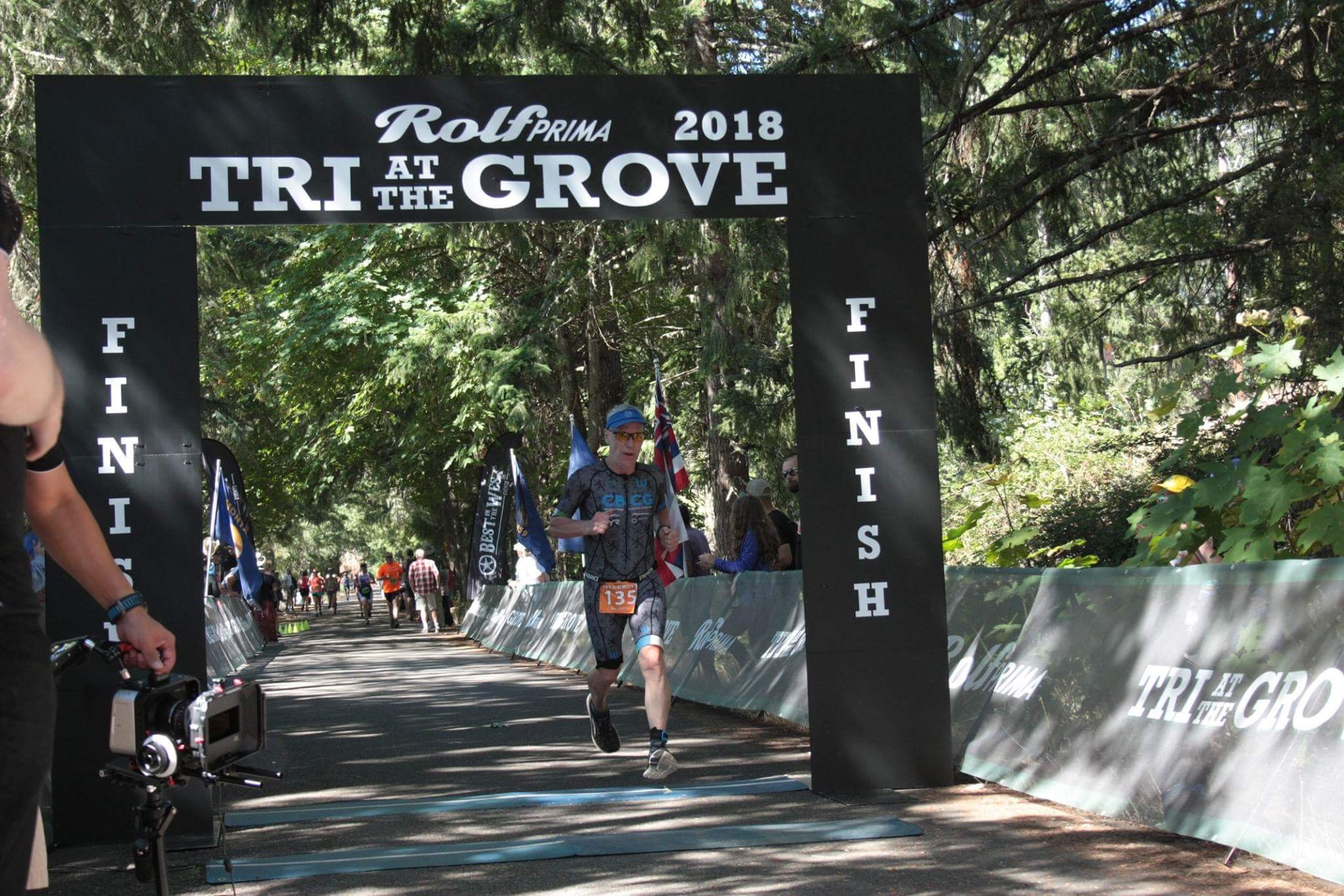 CBCG Athlete Don Geddes on his way to winning his age group at the 2018 Rolf Prima Tri at the Grove