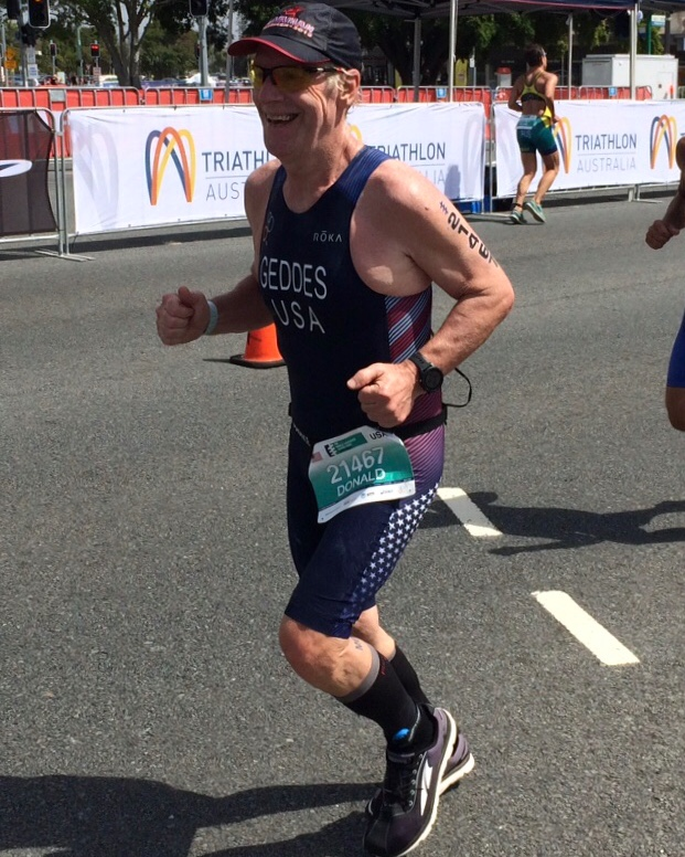 Geddes on his way to 3rd American and 15th in his Age Group in Australia