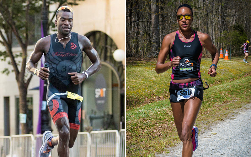 Max Fennell, the first African American triathlete to turn pro, and elite triathlete Sika Henry; photo: usatriathlon.org