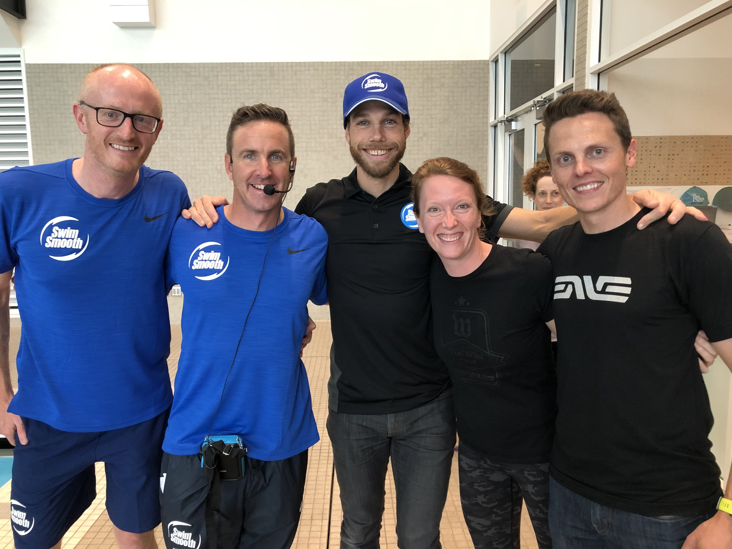 Swim Smooth Co-Founders Adam Young and Paul Newsome, and CBCG Coaches Chris Bagg, Molly Balfe, and Josh Sutton at the Swim Smooth 3-day Coaches Education Course