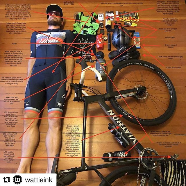 Same picture, but sooooo many arrows! Thanks @wattieink for giving me a chance to write about all the stuff you need for an ultra-long #gravelbike race such as @dirtykanza. @moxiemultisport @viathonbicycles #viathonbicycles @fieldworknutritionco @powerbarsport @rolfprima @rudyprojectna @bontcycling @pioneercycleusa @caffeine_watts @ircbike_official #rockthew #caffeineandwatts #rudyprojectna #irctire #powerisking #builtrighthere #gravel #gravelgrinding #cycling #endurance #coffee #adventurecycling #trogdor