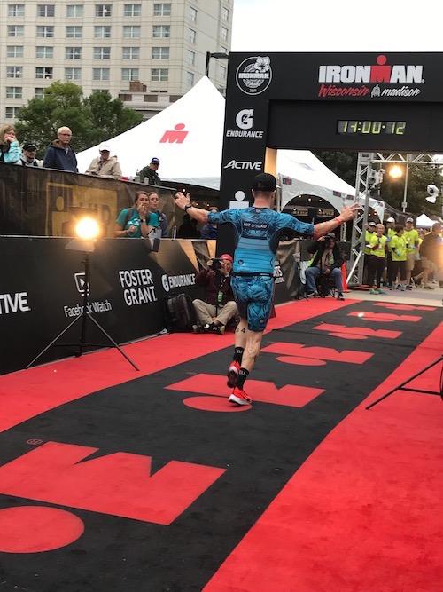 Scott finishing Ironman Wisconsin strong