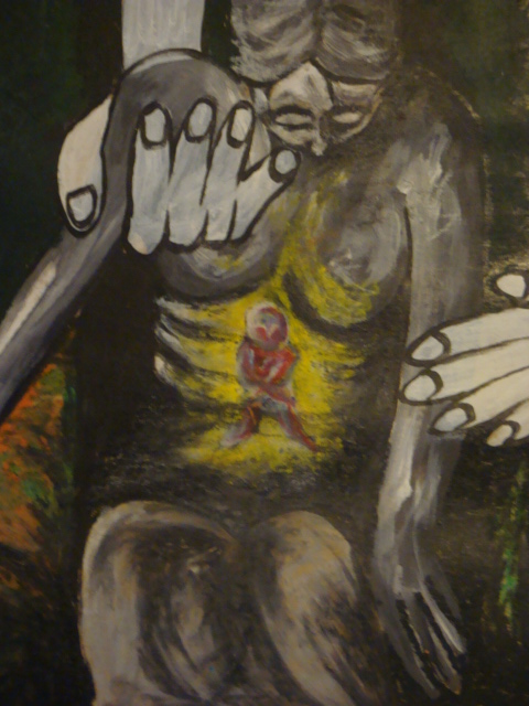 Helping the helper in you continue helping (Alison hawtin 1990 acrylic paint/oil pastels)