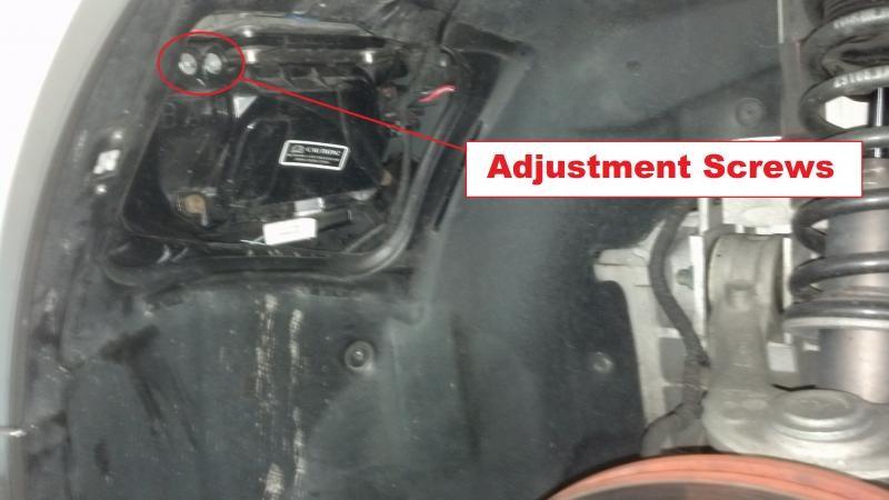 Headlight adjustment screws on the V8 Vantage.