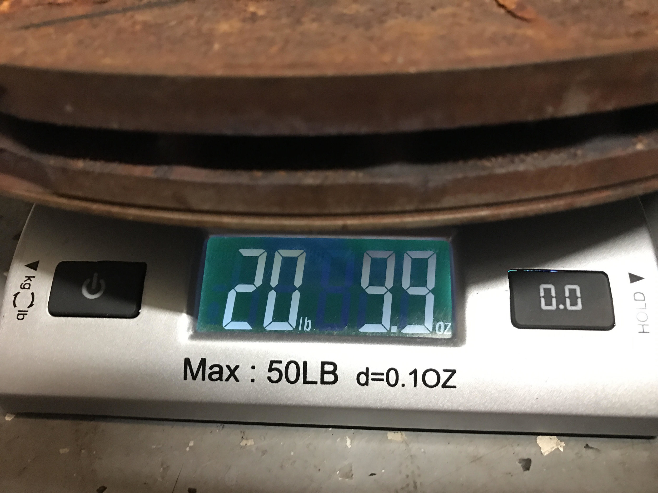 The weight for the OEM rear 1-piece brake rotor, also quite worn.