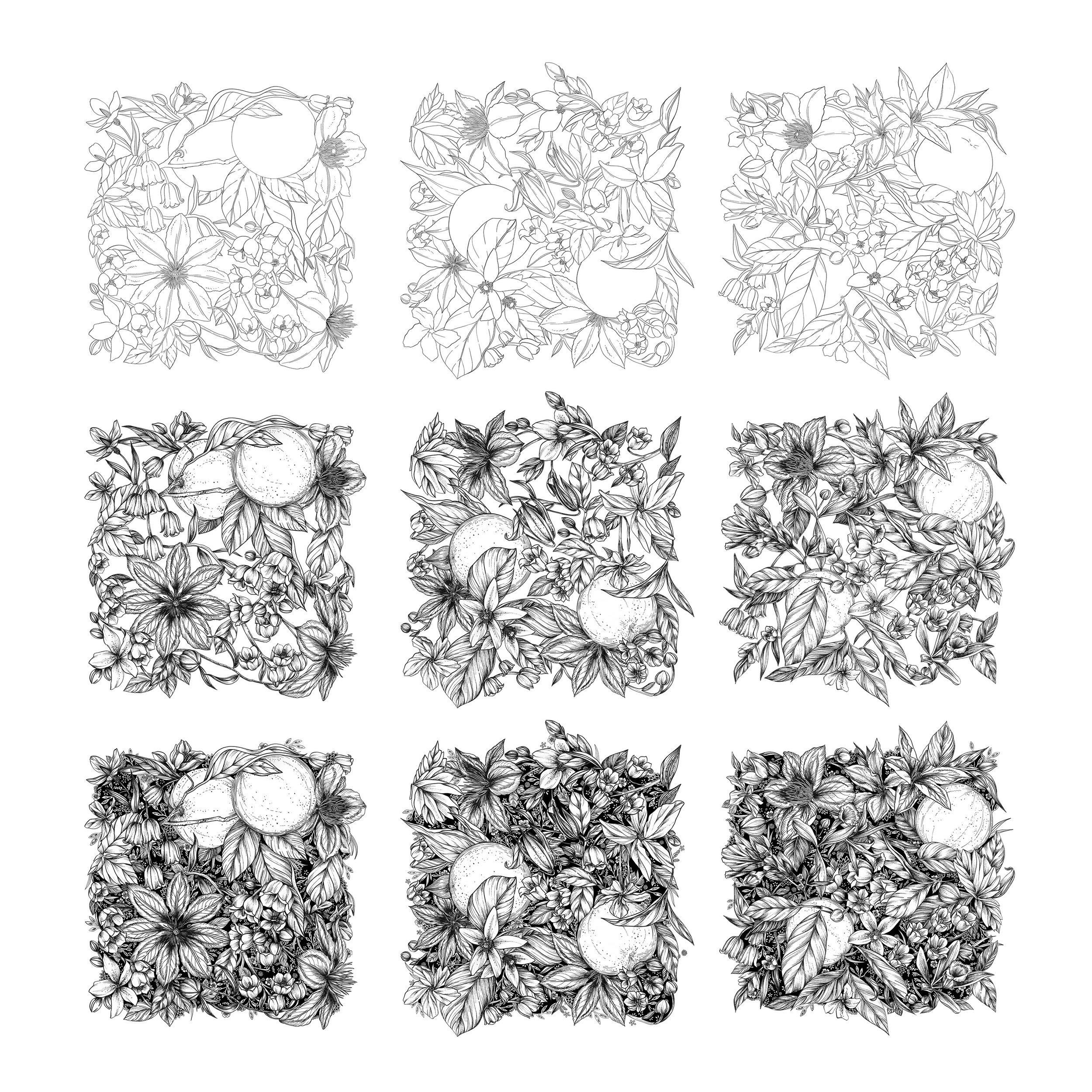 Three illustrated pattern tiles, from sketch to completion - Maggie Enterrios