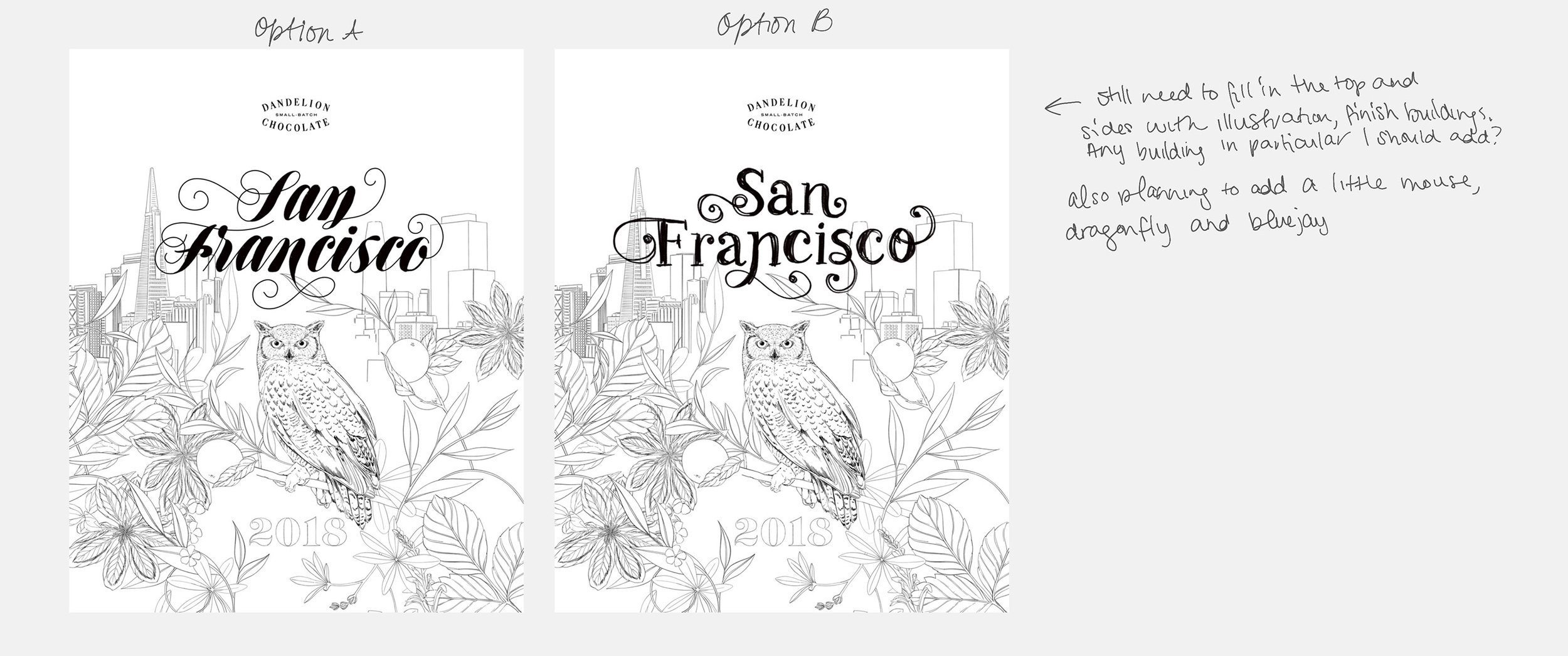 Very early illustration comps, lettering designed by Lisa Quine