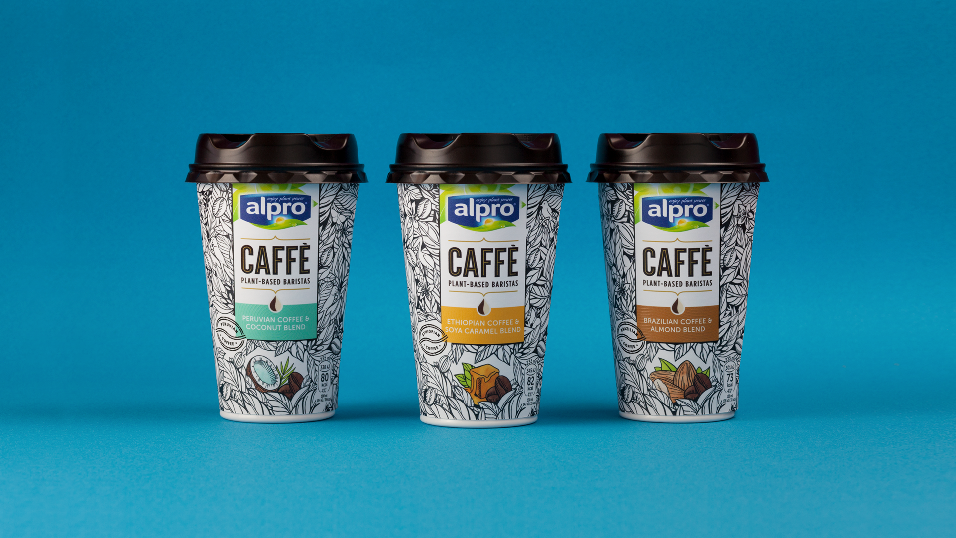 Alpro Caffè flavors - Coconut, Soya Caramel, Almond | Image courtesy elmwood.com, illustrated by Maggie Enterrios