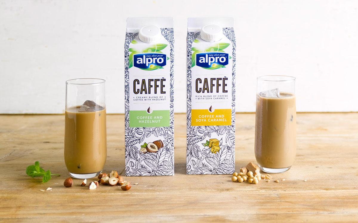 Alpro Caffè flavors - Hazelnut and Soya Caramel | Image courtesy alpro.com