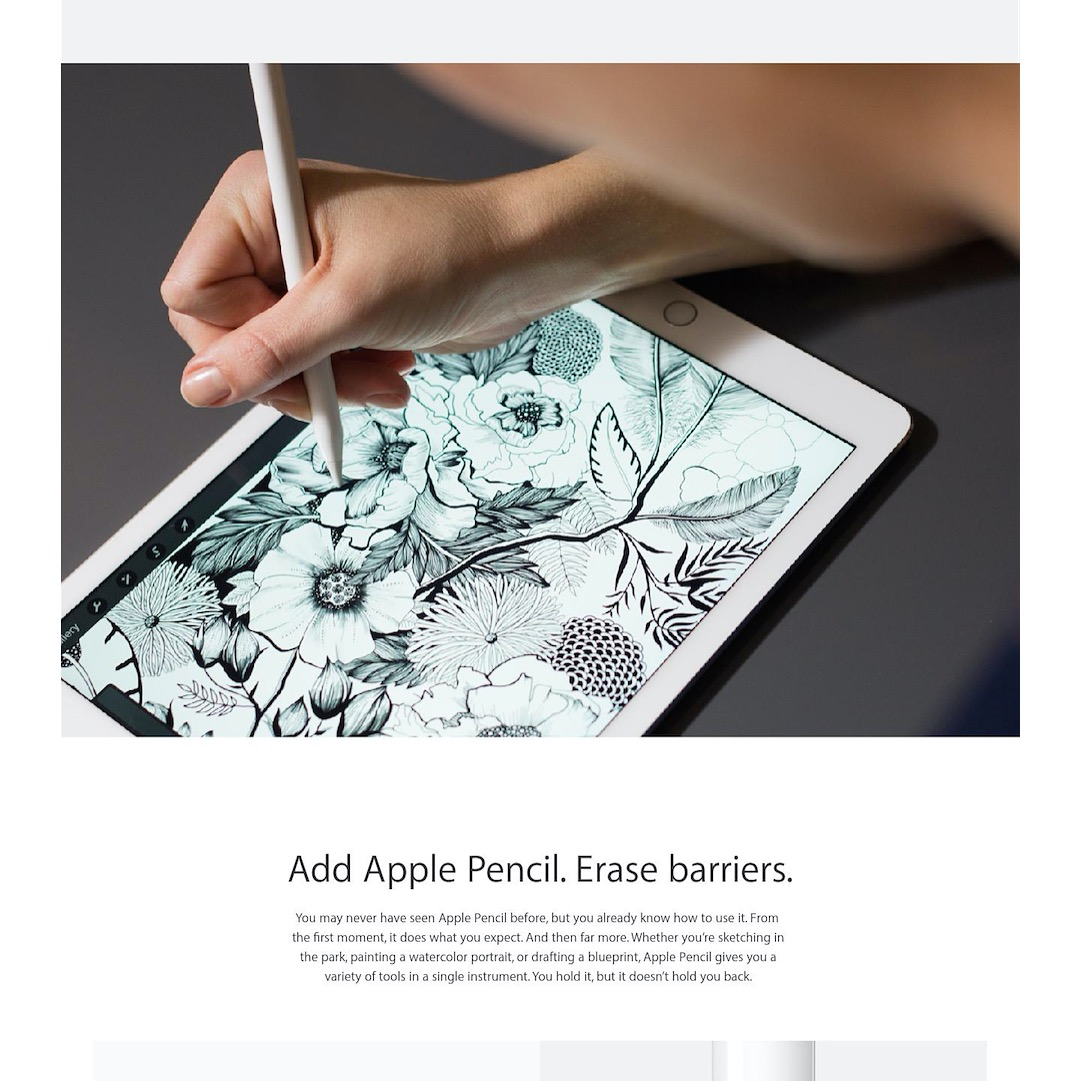 Editorial feature for new iPad and Apple Pencil, showing dense black and white illustration.