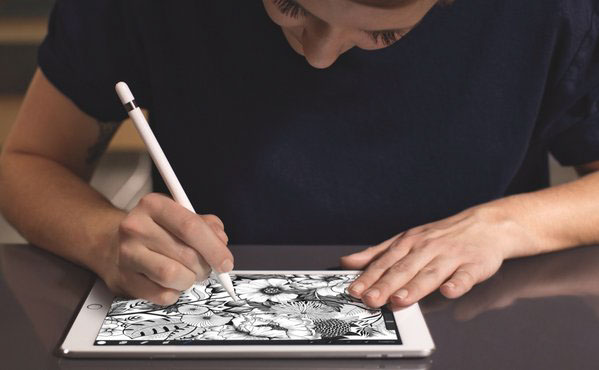 Package designer, Maggie Enterrios, works on iPad Pro and Procreate to build dense patterns