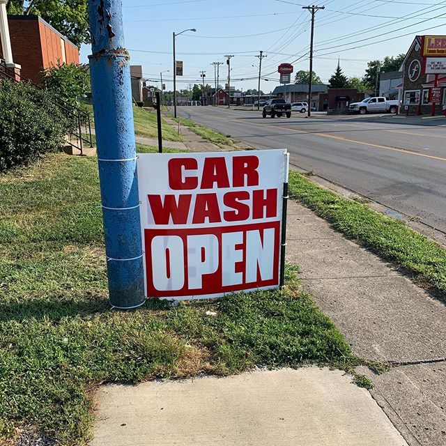 There's a sign I've been waiting a few weeks to put up. If you need a car wash come on by. We are open for business.
