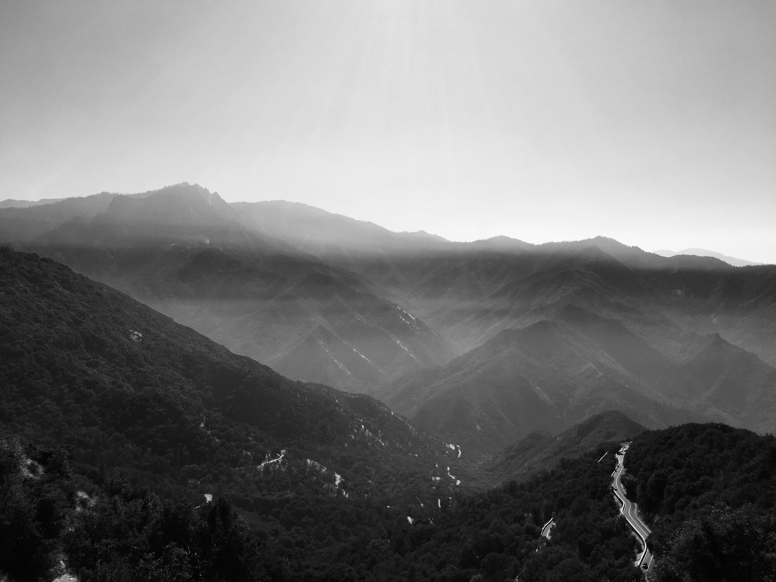 Aim to the West. The road to Sequoia, California