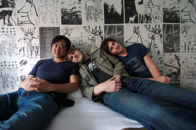 The boys in the band - Court & Spark- L to R James Kim, MC Taylor, Scott Hirsch- photo by Terri Loewenthal