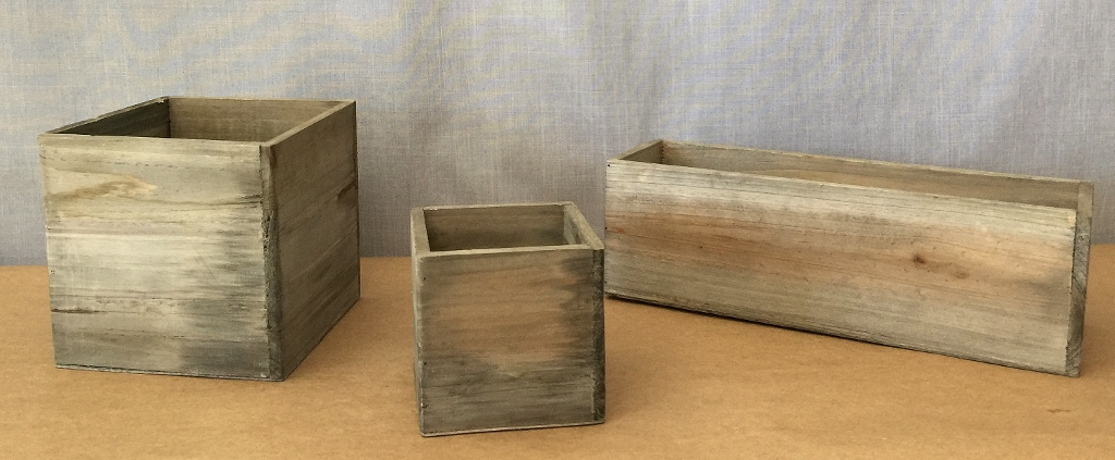 Smooth barn wood boxes