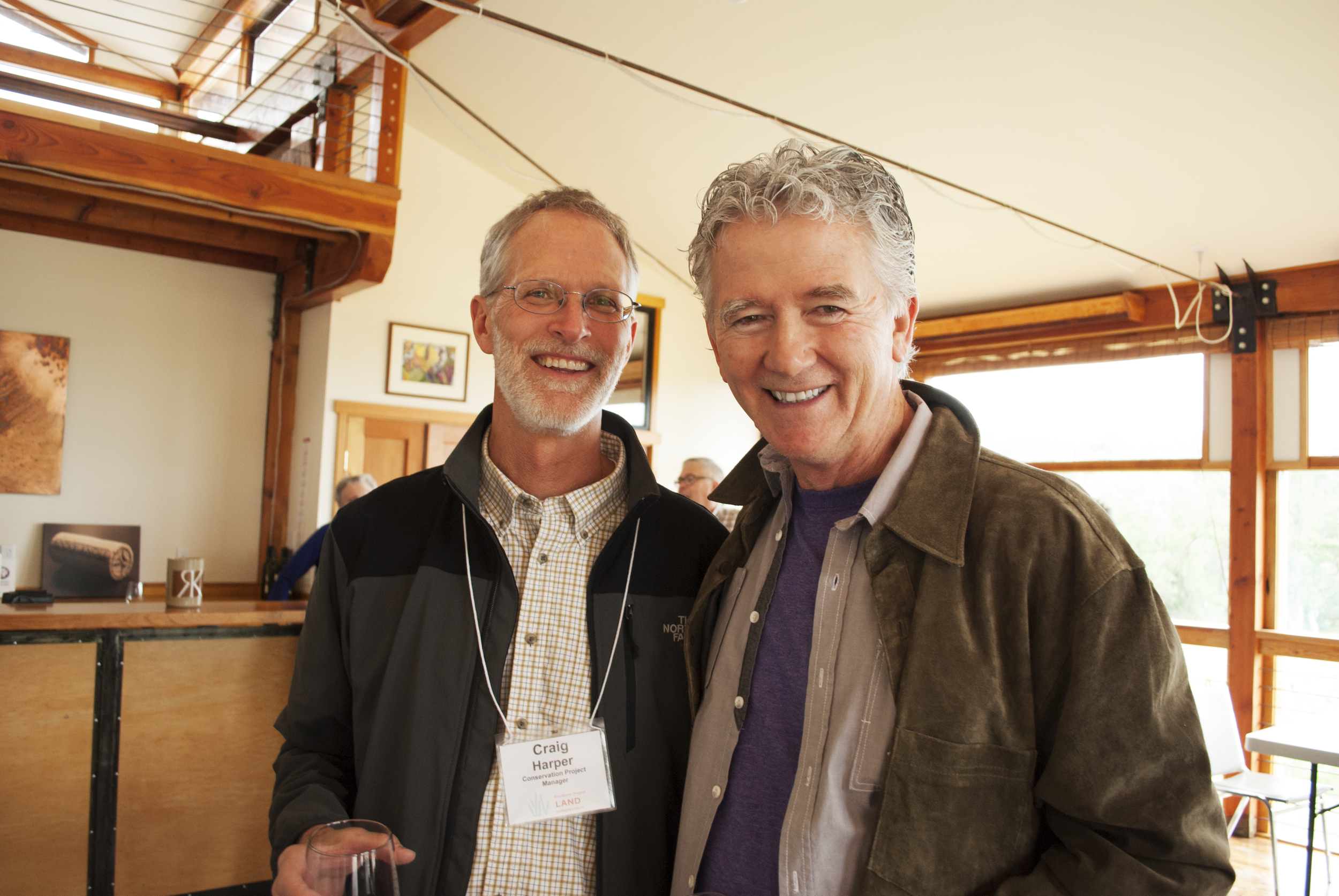 Craig Harper, Conservation Project Manager, and Patrick Duffy, Heart of the Rogue Campaign Chair, smiling after announcing the OWEB award.