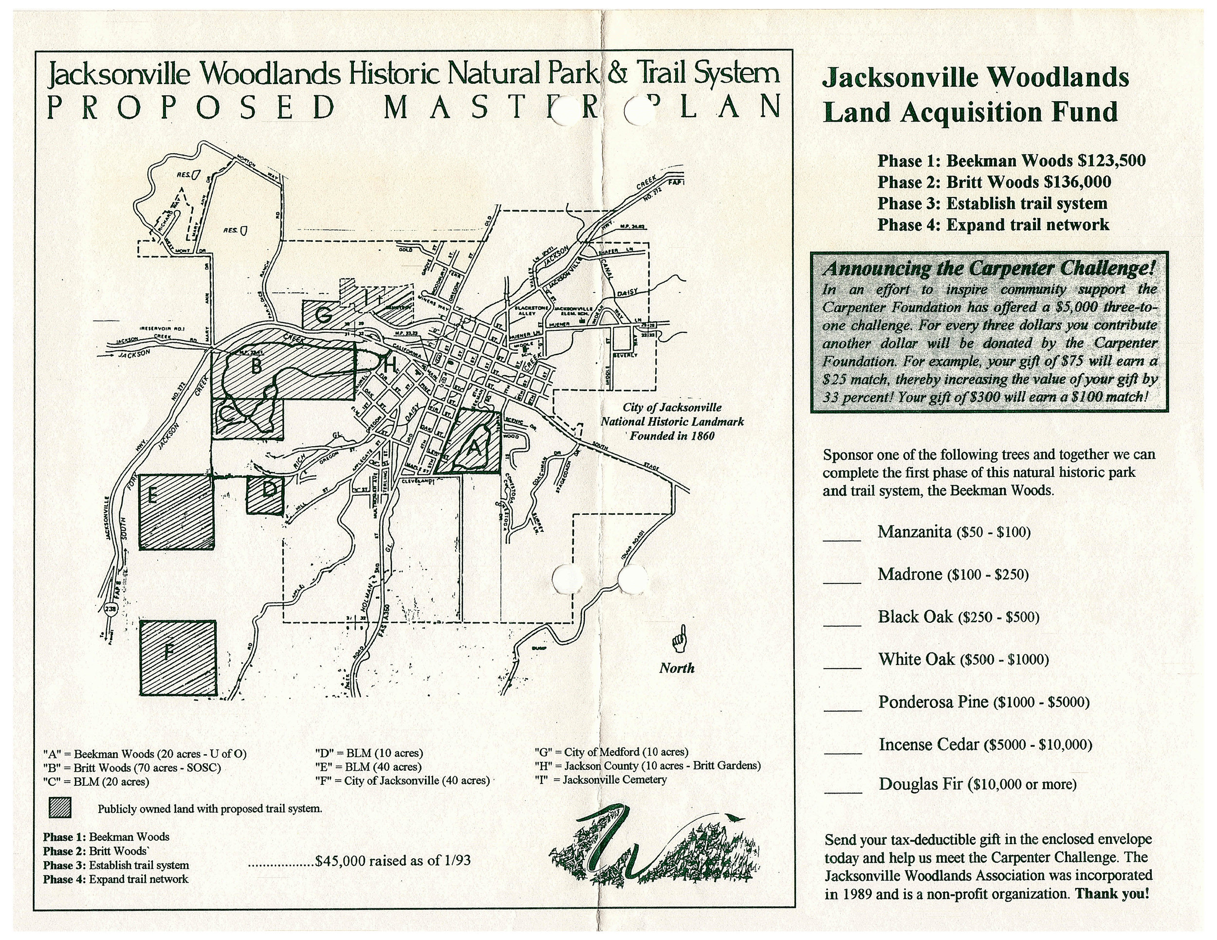 Woodlands community-driven campaign fundraiser form with proposed conserved areas.