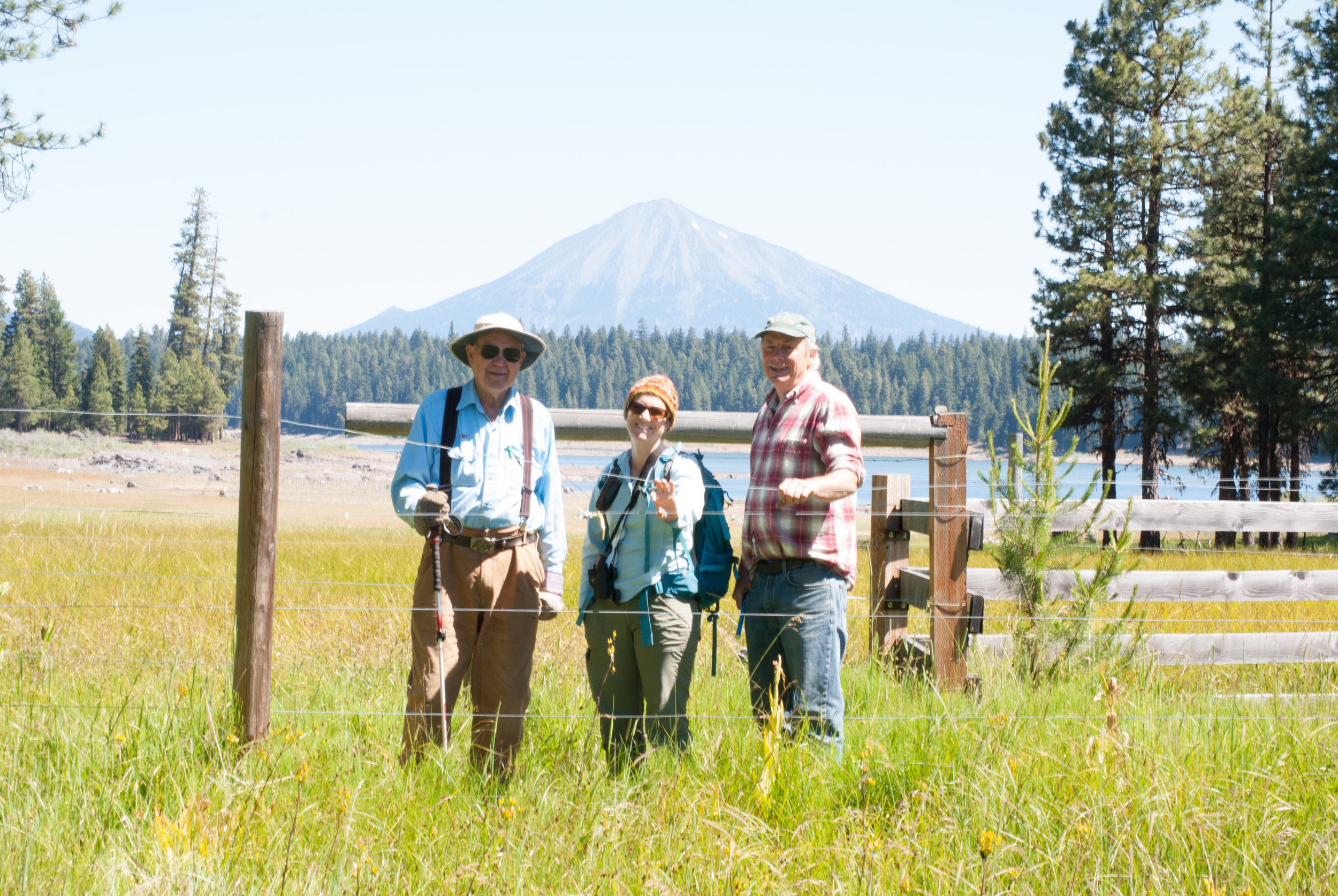 Jud Parsons, Karen Hussey, and Marty Main with Mt. McLoughlin in the background.