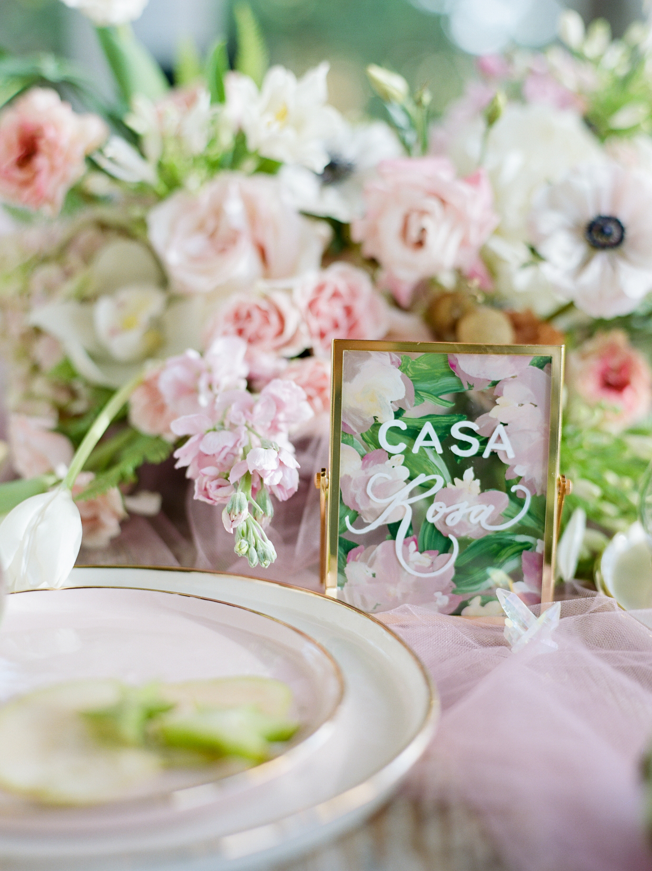 Casa Rosa Floral Styled Shoot - Concept + Florals: MibellarosaPhotography: Josh & Dana Fernandez PhotographyVenue: The DunlavyPaper + Calligraphy: Half Moon LetteringView the full shoot on Brides of Houston