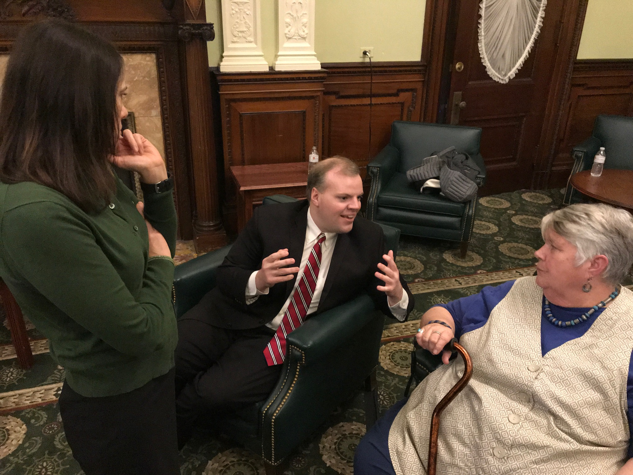 Rep. Garballey talks with Janet Connors