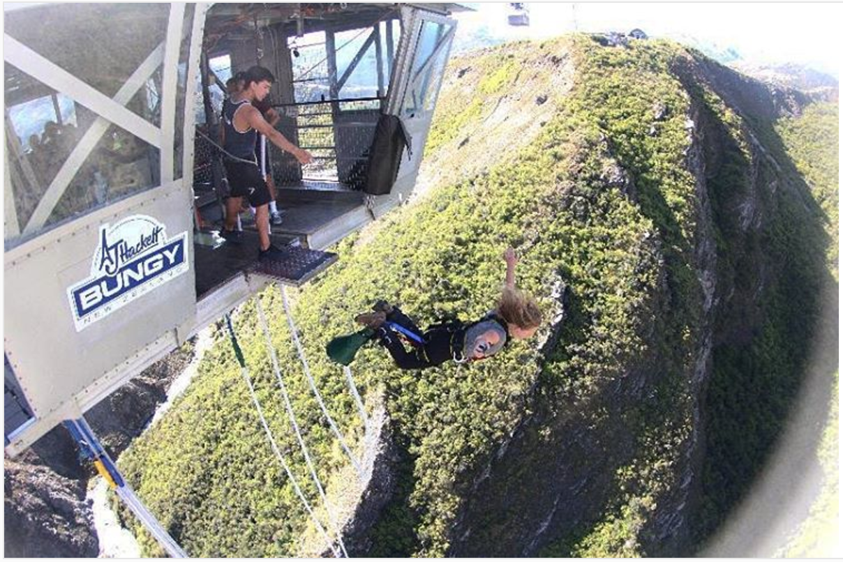 Sophia taking on the Nevis Bungee Jump in Queenstown, New Zealand. Jan 2017.