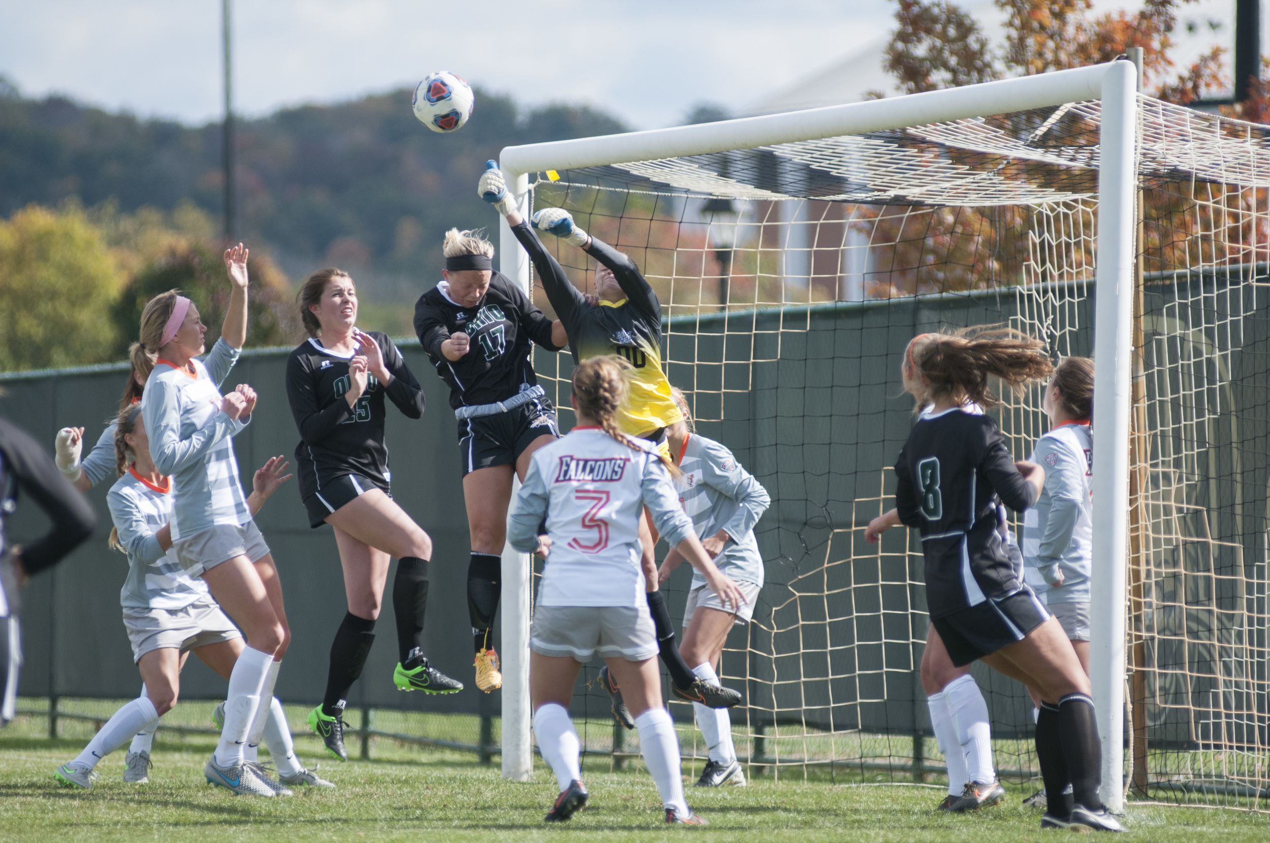 Ohio University's Hannah Jagers headbutts the ball after an Ohio corner-kick during a game on Sunday October 18, 2015 at the OU soccer fields in Athens, Ohio.