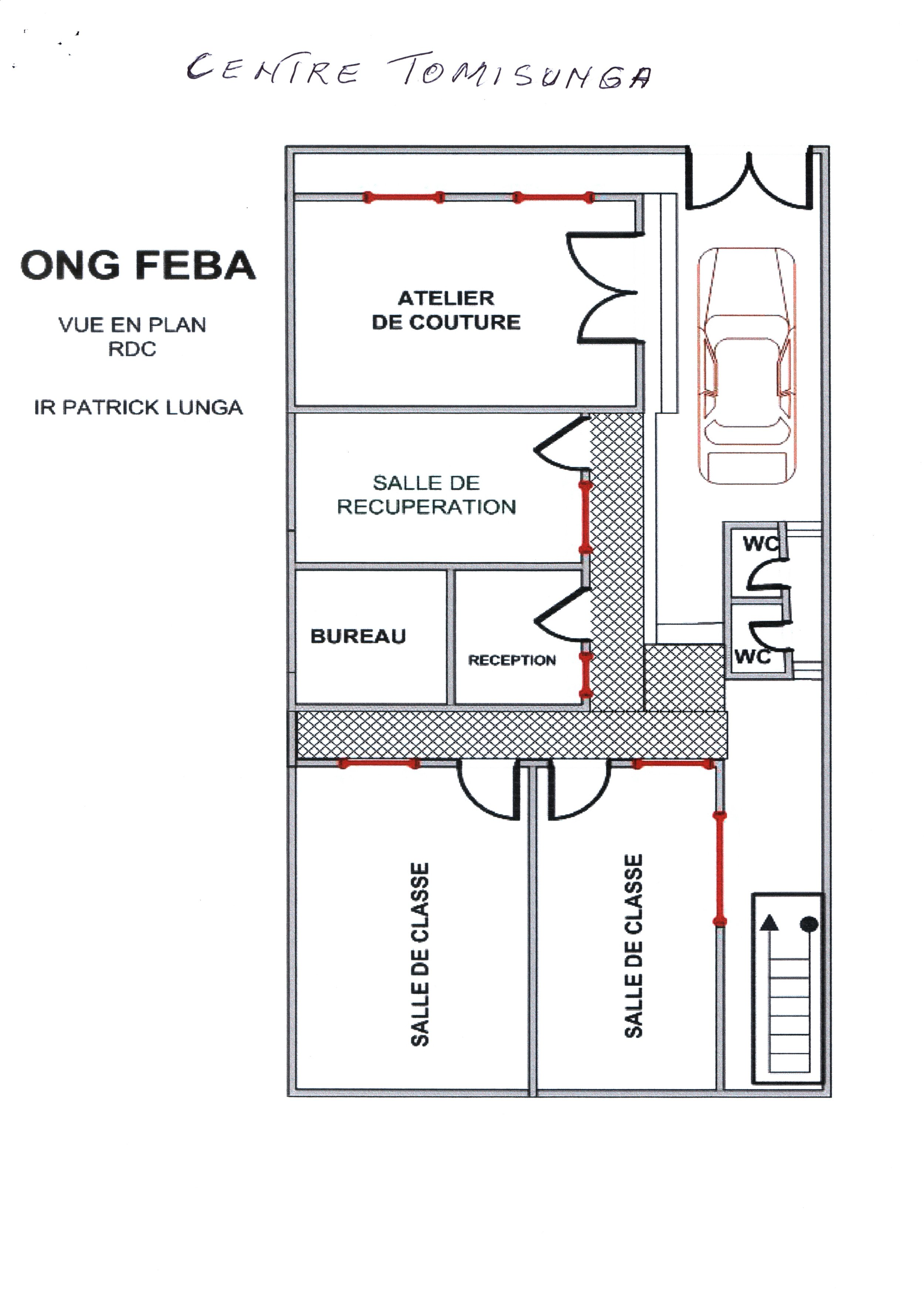 Ground floor: entrance into small courtyard (car park): doors open into the sewing school room; a counseling-teaching space; the reception & office headquarters for FEBA. Two public toilets; two larger classrooms at the back, next to stairs to the upper levels.