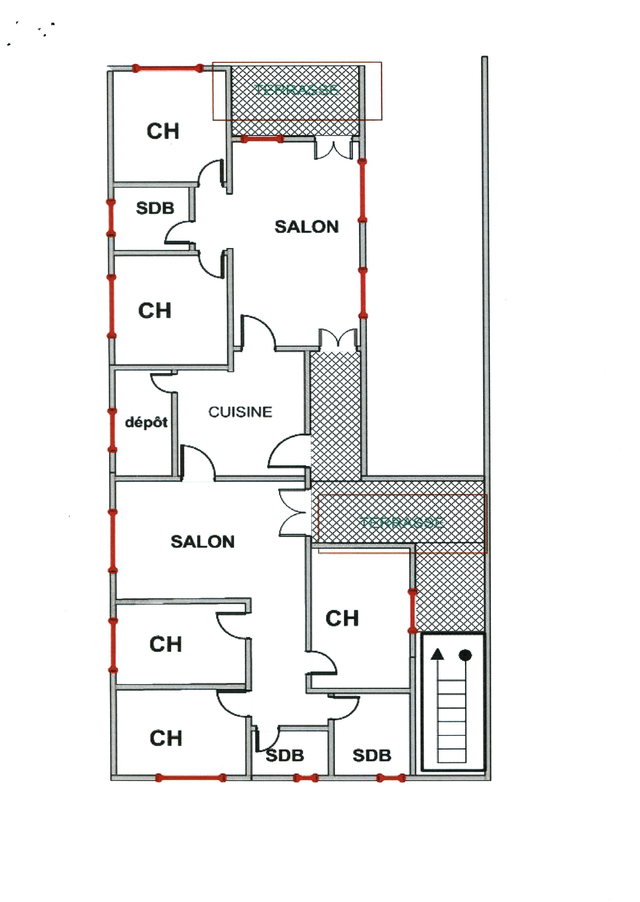 """2  nd   floor: primarily residence area, with dormitories, bath-rooms, kitchen; """"salons"""" can be used for dining or meeting; several small balconies. 3  rd   floor (not pictured) will be one large room extending over half of the structure, for large events (e.g. sewing school graduation) or to rent by the hour to women's or church groups."""