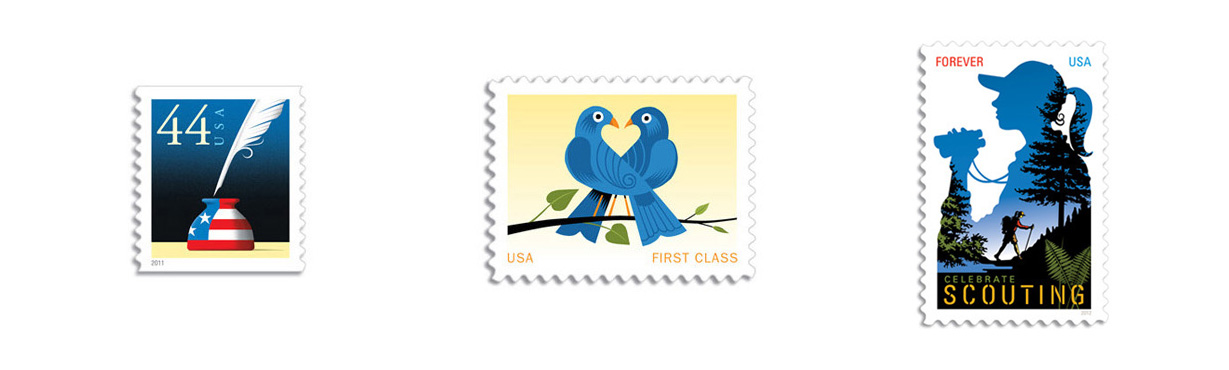 Sticky design.  US Postal Service stamps designed to make an envelope lovely. Worth every cent.