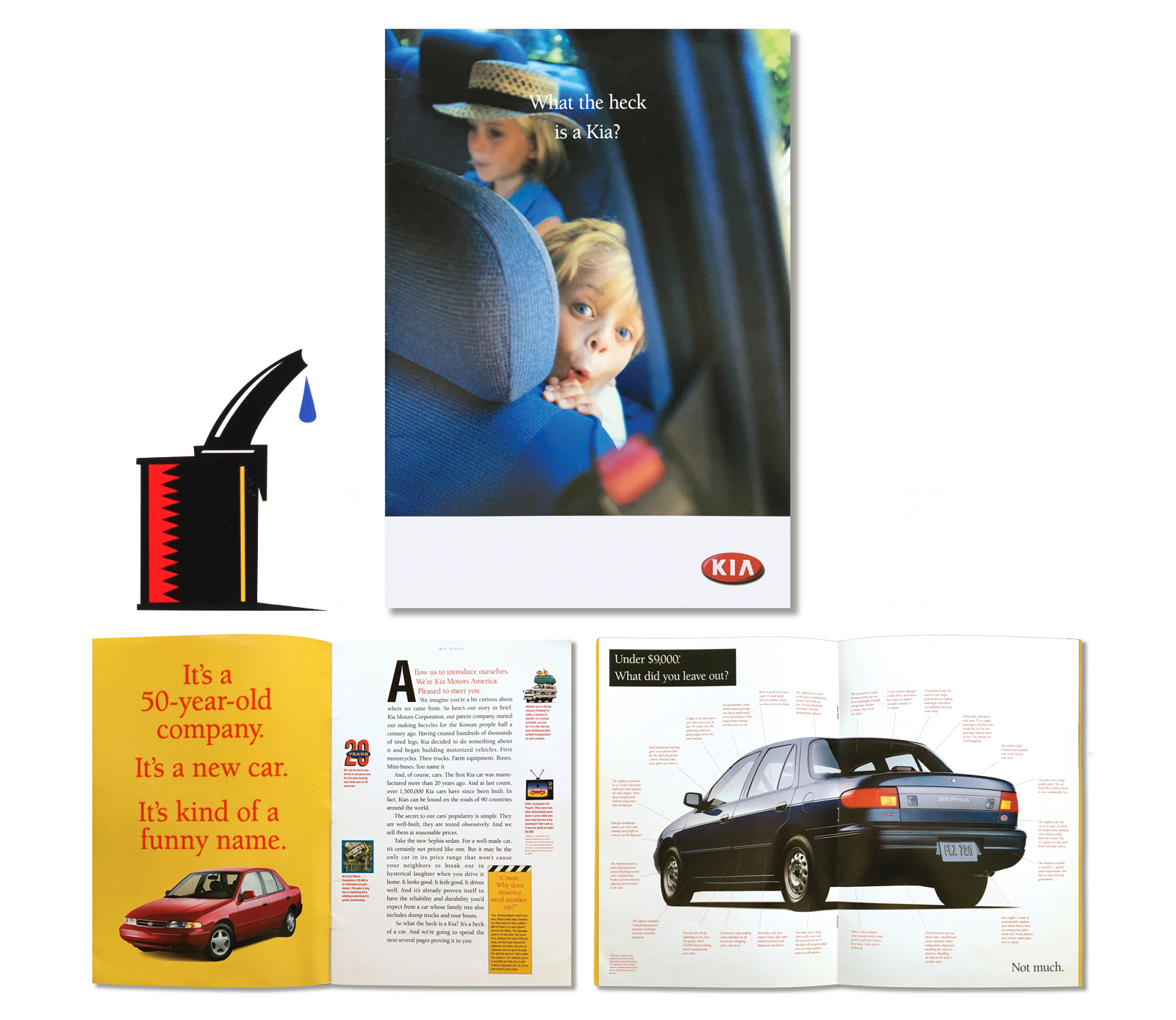 "Beep, Beep.  Brochure introducing Kia Motors to the U.S. consumer market. Positioned the Korean car manufacturer as a 'people's' car for under $9,000. The copy was particularly conversational and self-effacing including the cover headline, ""What the heck is a Kia."" In addition to the snarky copy, we populated the pages with bright graphics and mischievous kids. As it turns out, Kia did in fact, gain market acceptance and is a major player today proving that being nice is a marketable strategy."