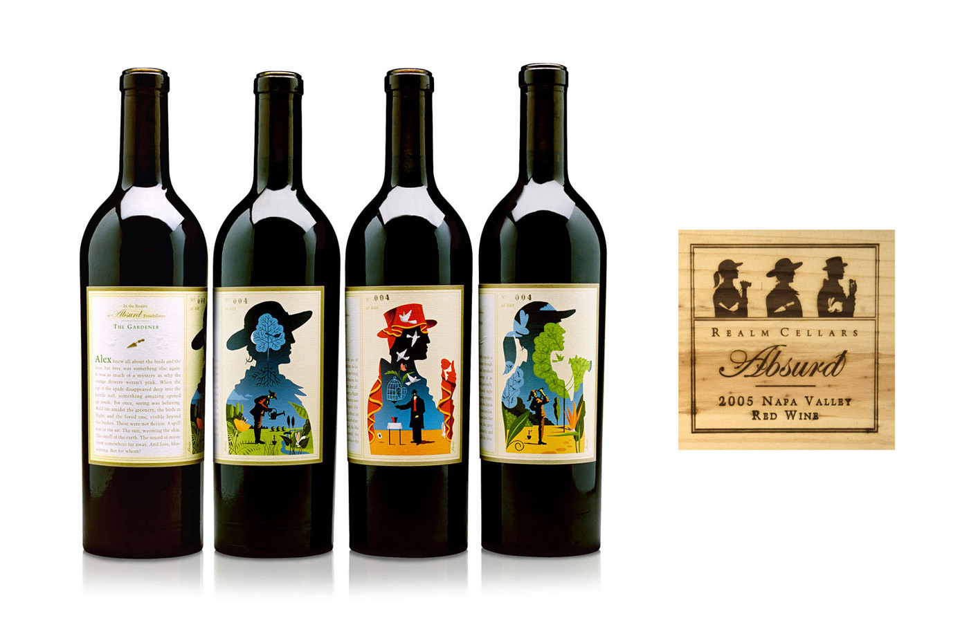 Realm Cellars.  The Absurd Collection was a three-bottle suite of numbered labels that broke convention in an absurd fashion. Each bottle had a wrap-around label with a surreal illustration flanked by the stories of Alex the Gardener, Whitman the Magician, and Collette the Birdwatcher. Rich with clues and symbols, the illustrations left breadcrumbs that further tell the love story of these three—open for a wide range of interpretations.