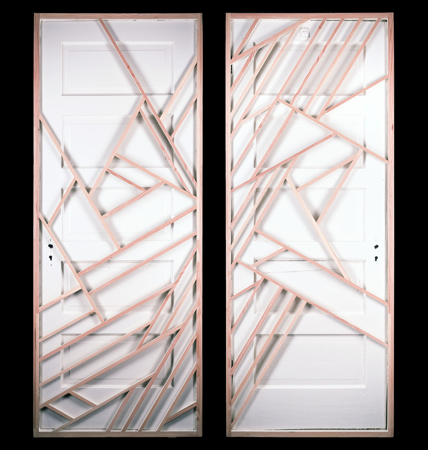"""ART FOR RECOVERY, NEVADA MUSEUM OF ART   'Evolution"""" by Robb Olson (for Doors to Recovery)  Salvaged door, scrap Douglas fir, paint   Goes to auction on Sept 10th, 2016    http://www.doorstorecovery.org"""