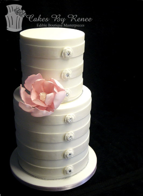 4 tier wedding cake horizontale bands stripes buttons bling pink flower cake white.png