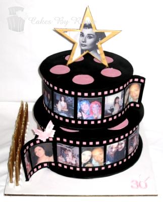 2 tier birthday cake hollywood movie stars movie reels.png