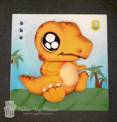 baby dinosaur little boys birthday cake orange t-rex.png