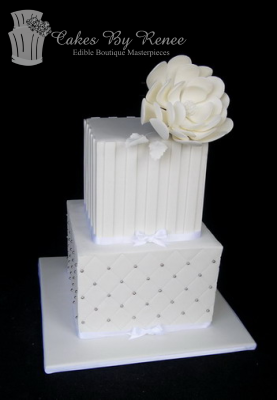 2 tier all white square wedding cake stripes flower quilting.png