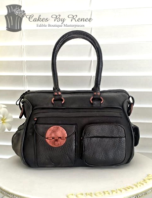 Mimco baby nappy bag handbag black rose gold front.png