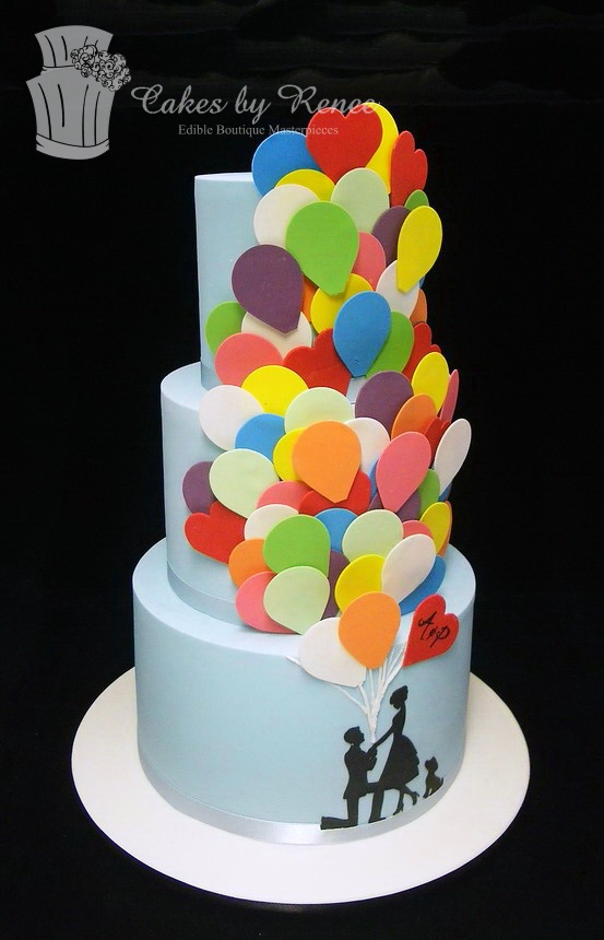 A Oct 22 -3 tier pale blue engagement cake couple balloons.jpg