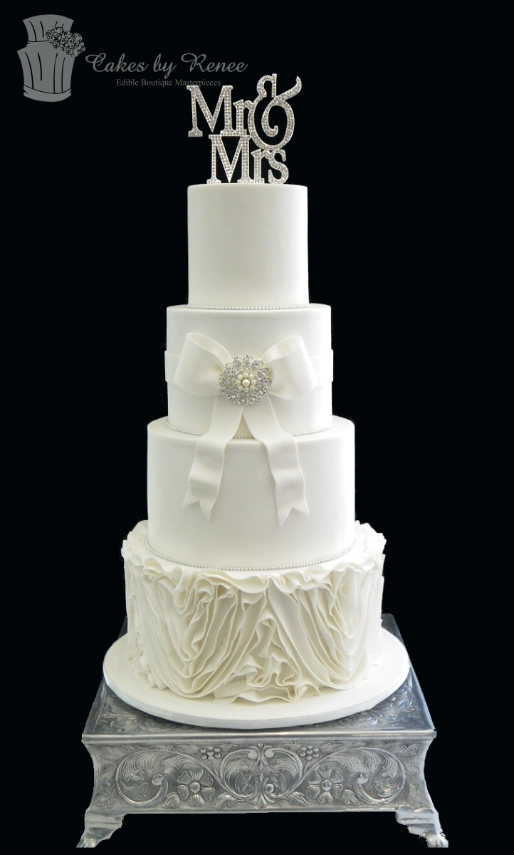 Mar 11 - 4 tiers wedding cake all white frills bling wm.jpg