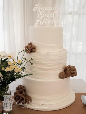 3 tier white wedding cake rustic vintage modern hessian.png