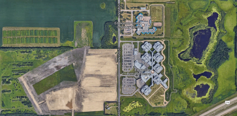 Image: Aerial View of Edmonton Remand Centre – Canada's largest prison at an equivalent of  10 CFL-sized football fields  ( Google Maps )