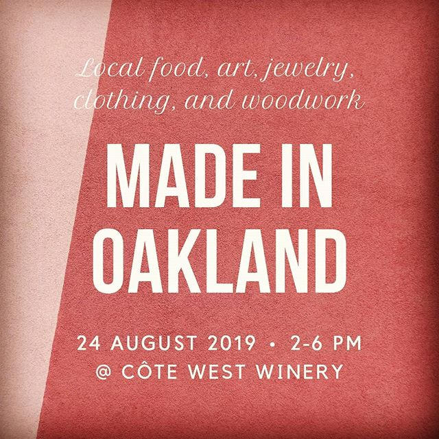 We have another great crew representing the best of Oakland. Join us at the winery Aug 24! Thanks to former Oaklander artist @summerromasco for poster design! #madeinoakland #shoplocal #drinklocal #shopoakland #shopsmall  #oaklandwinetrail #oaklandmade #smallbusiness #oaklandevents