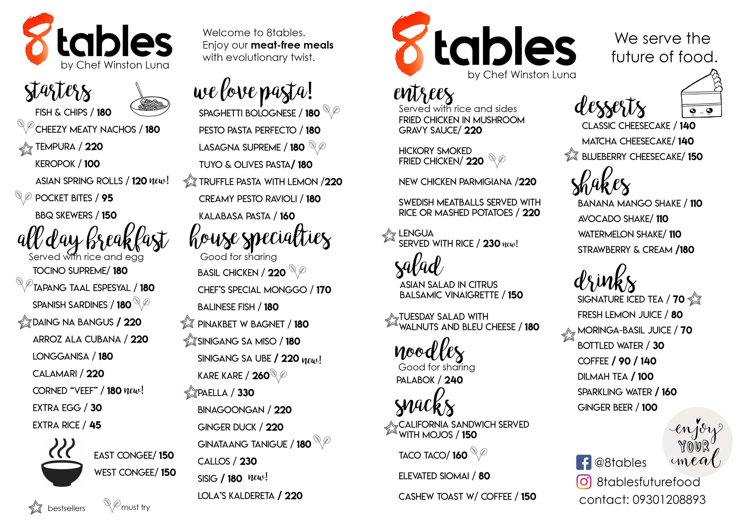 8 Tables in Congressional Ave  [Vegetarian / Meat-free