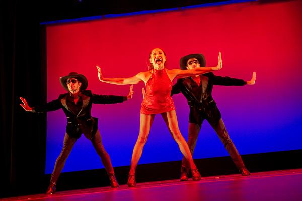 "Nicholas de la Vega, Bianca Pamela Marroquin and  Nicholas Sipes  perform  Bob Fosse 's ""I Gotcha"" from Liza With a Z at the Dancers For Good Benefit 2019. Photo by Shin Kurokawa."