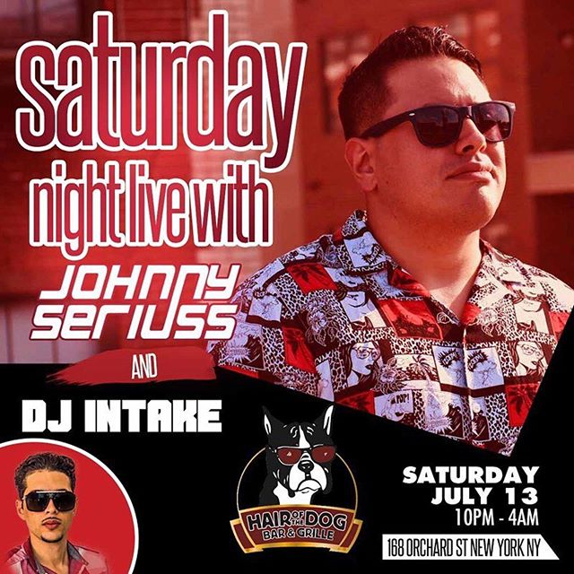 It's going down tonight at #hairofthedog me and @deejayintake tearing things up in here! #dj #djcity #djlife #party #bar #nyc #ny #manhattan #les #saturday #weekend #satudaynight #mainevenydjs