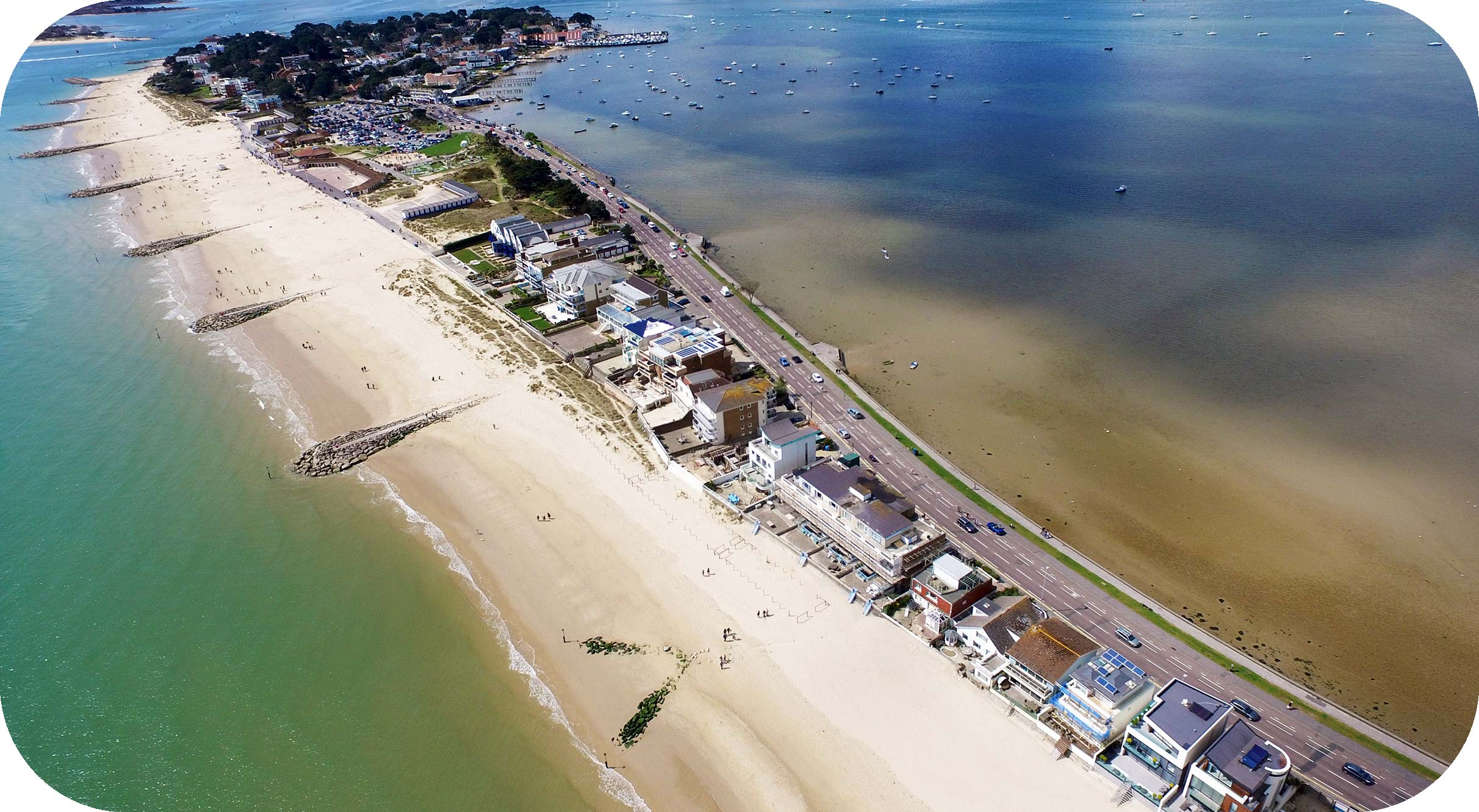Drone photography of Sandbanks