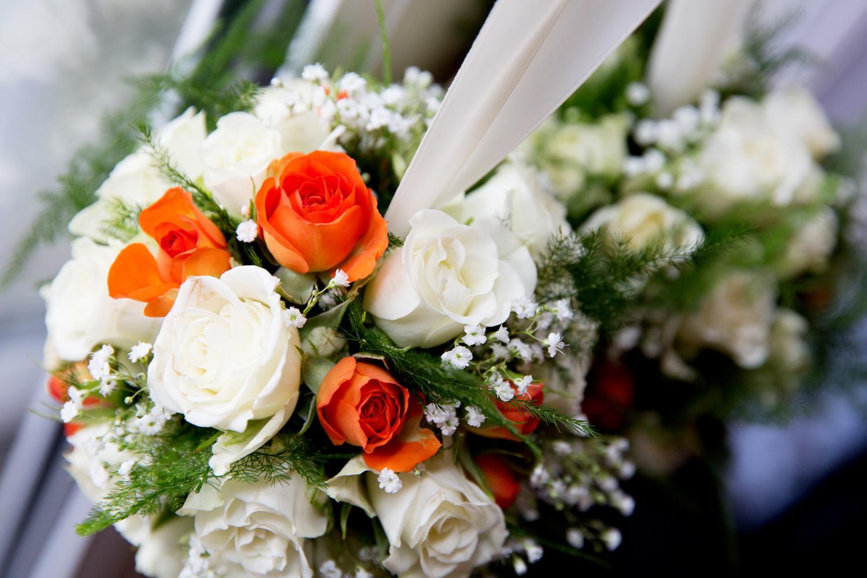 Orange & White Bridal Bouquet, Helen England Photography, Kent, U.K
