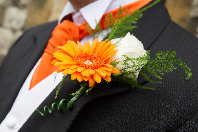 Orange Flower Buttonhole, Helen England Photography, Kent, U.K