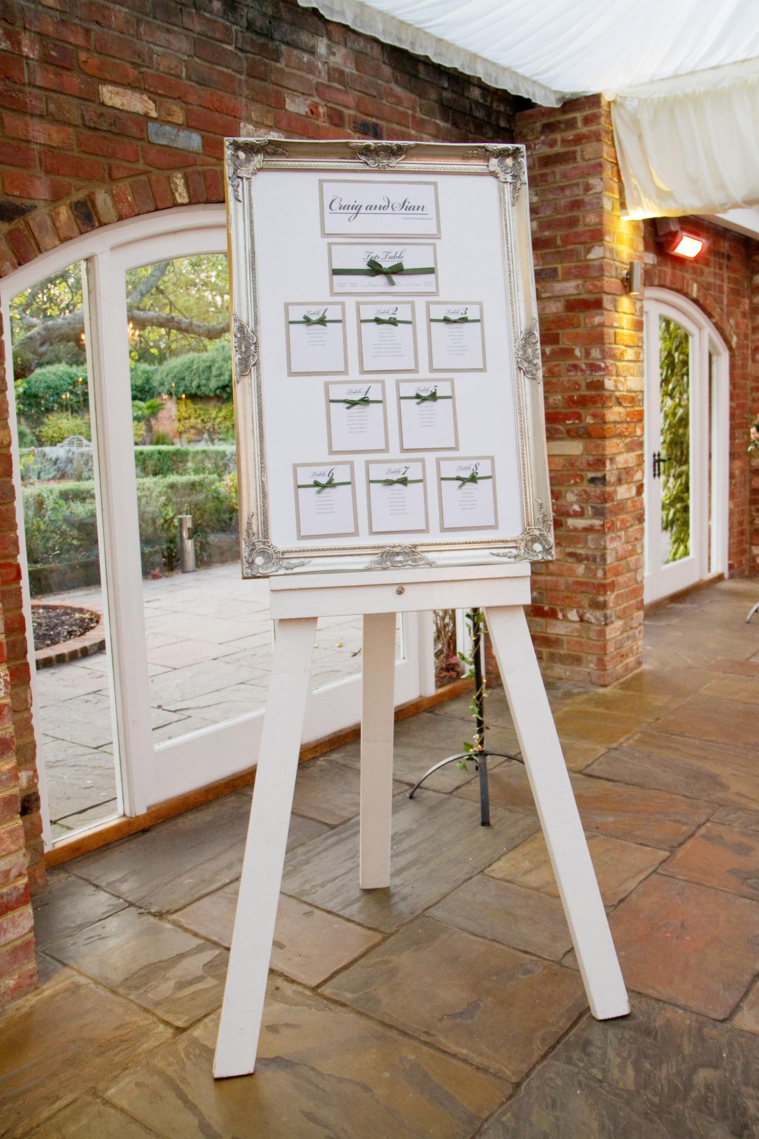 Wedding Table Plan, Helen England Photography, Kent, U.K