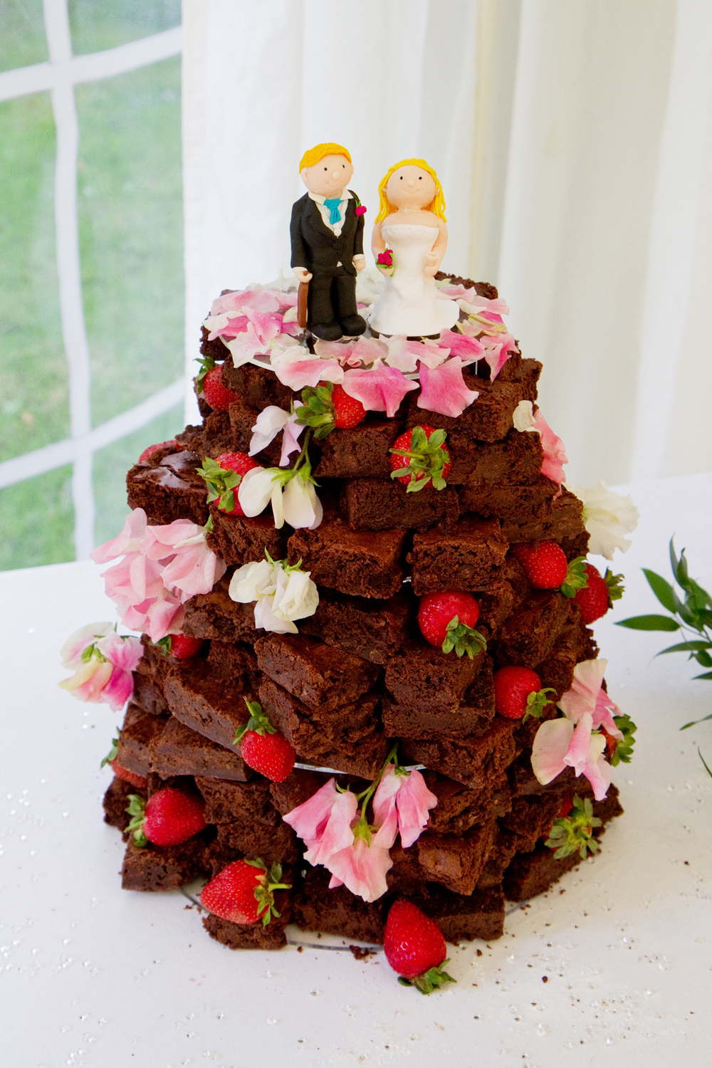 Chocolate Brownie Wedding Cake, Helen England Photography, Kent, U.K